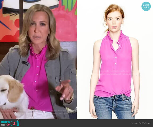 Ruffle Collar Sleeveless Blouse by J.Crew worn by Lara Spencer  on Good Morning America