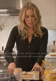 Jen's black button down blouse on Dead to Me
