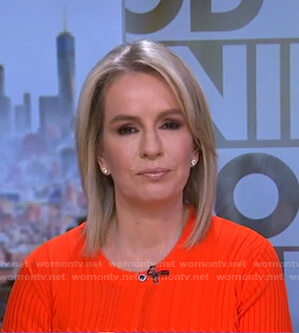 Dr. Jennifer Ashton's orange ribbed sweater on Good Morning America