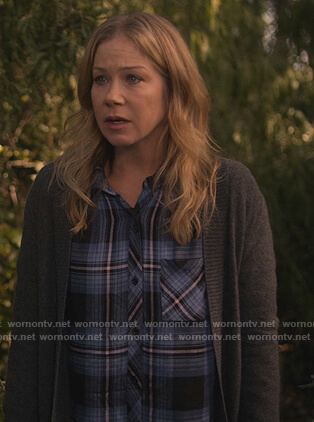 Jen's blue plaid shirt on Dead to Me