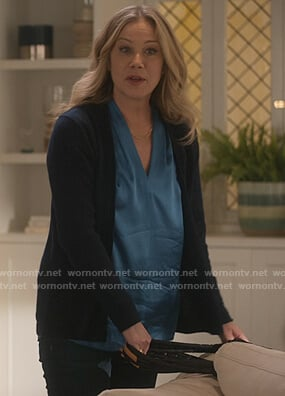Jen's blue v-neck silk blouse on Dead to Me