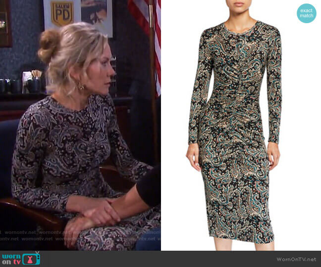 Aja Paisley-Print Ruched Dress by Joie worn by Kristen DiMera (Stacy Haiduk) on Days of our Lives