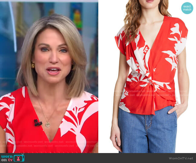 Bosko Floral Silk Top by Joie worn by Amy Robach  on Good Morning America