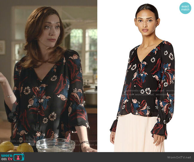 Boyana Top by Joie worn by Abigail Pershing (Sarah Power) on Good Witch