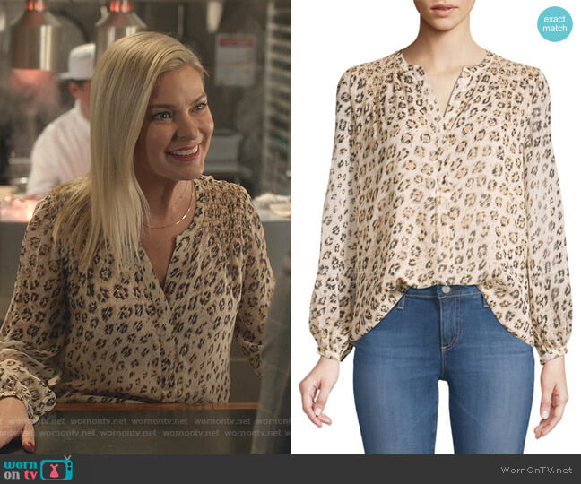 Cordell Smocked Leopard Blouse by Joie worn by Stephanie Borden (Kylee Evans) on Good Witch