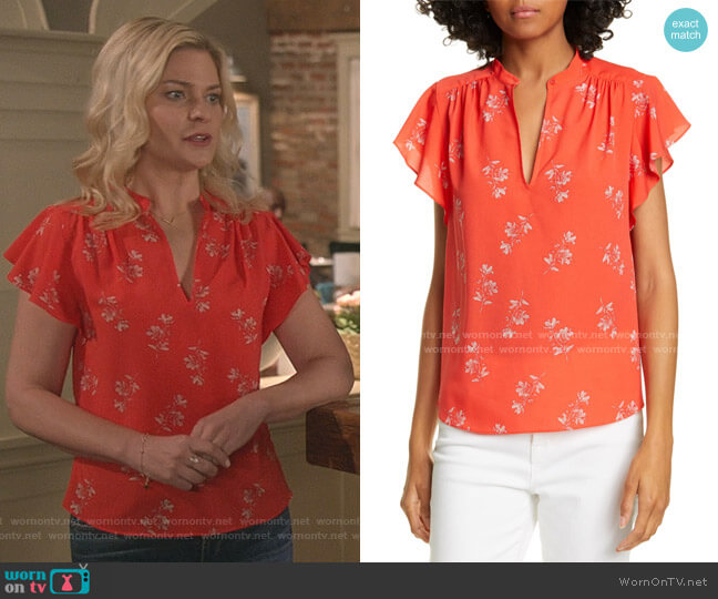 Marlina Cap Sleeve Floral Top by Joie worn by Stephanie Borden (Kylee Evans) on Good Witch