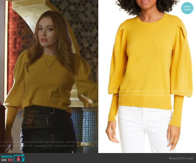 Puff Sleeve Cashmere Sweater by Jonathan Simkhai worn by Kirby Anders (Maddison Brown) on Dynasty