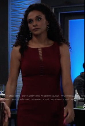 Jordan's red ladder trim sheath dress on General Hospital