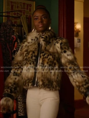 Josie's animal print fur jacket on Katy Keene