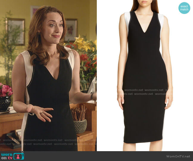 Avellino Sheath Dress by Judith & Chales worn by Abigail Pershing (Sarah Power) on Good Witch