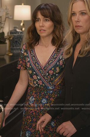 Judy's black floral wrap dress on Dead to Me