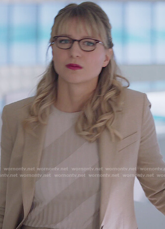 Kara's stripe ribbed sweater and blazer on Supergirl