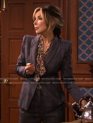 Kate's print tie neck blouse and grey plaid suit on Days of our Lives
