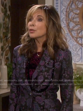 Kate's purple floral jacquard blazer on Days of our Lives