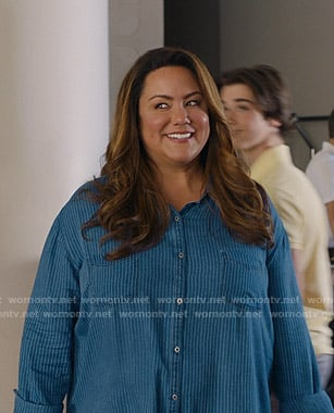 Katie's blue striped shirt on American Housewife