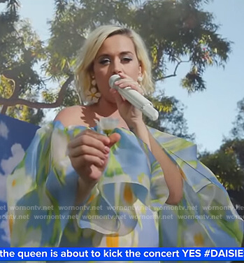 Katy Perry's blue floral off-shoulder maxi dress on Good Morning America
