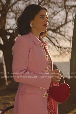 Katy's pink floral button coat on Katy Keene
