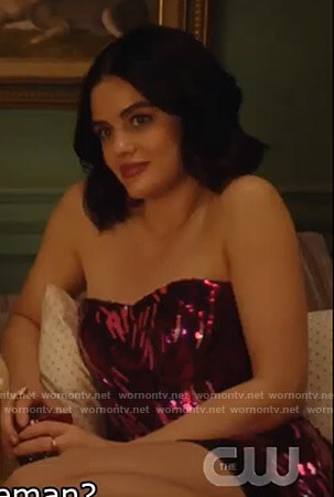 Katy's sequin strapless top on Katy Keene