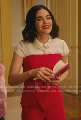 Katy's white embellished collar top and red strapless jumpsuit on Katy Keene