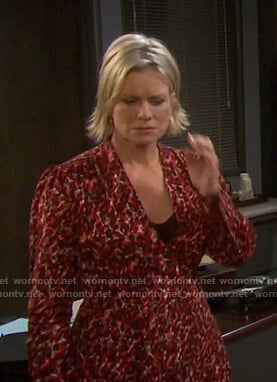 Kayla's red abstract print dress on Days of our Lives