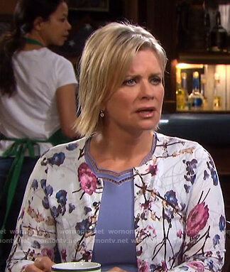Kayla's scalloped dress and floral cardigan on Days of our Lives