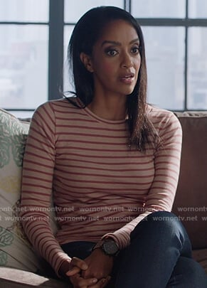 Kelly's striped long sleeve tee on Supergirl