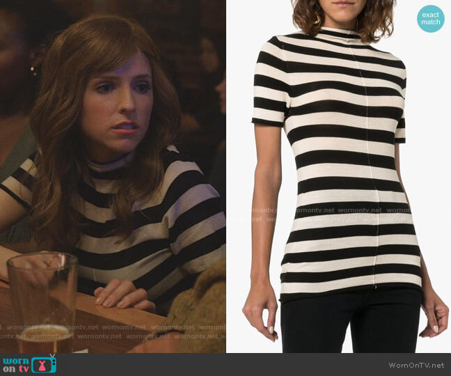 Nidia Striped Knit Top by Khaite worn by Darby (Anna Kendrick) on Love Life
