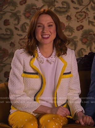 Kimmy's white embellished collar top on Unbreakable Kimmy Schmidt