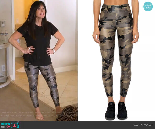 Lustrous High-Rise Camo Leggings by Koral worn by Kyle Richards  on The Real Housewives of Beverly Hills