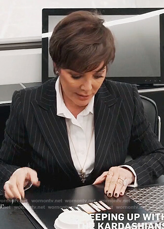 Kris's black pinstripe blazer on Keeping Up with the Kardashians