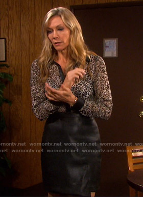 Kristen's leopard shirt and leather skirt on Days of our Lives