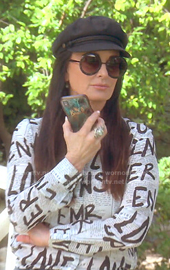 Kyle's newspaper graffiti print blouse on The Real Housewives of Beverly Hills