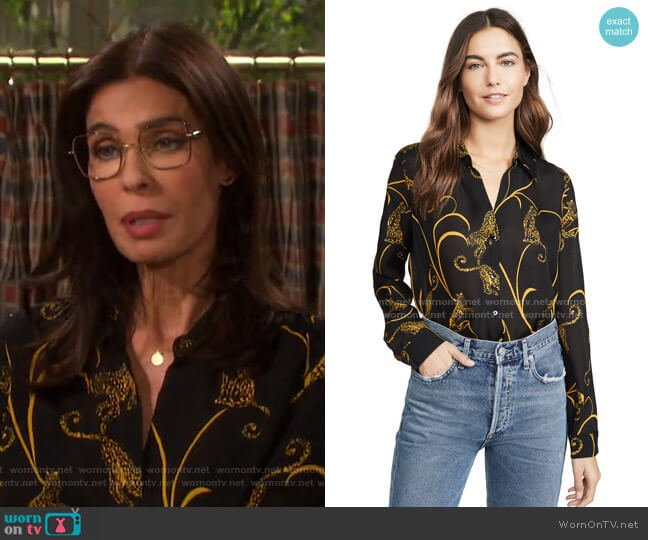 Nina Blouse by L'Agence worn by Hope Williams (Kristian Alfonso) on Days of our Lives