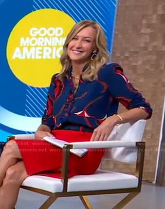 Lara's blue floral blouse on Good Morning America