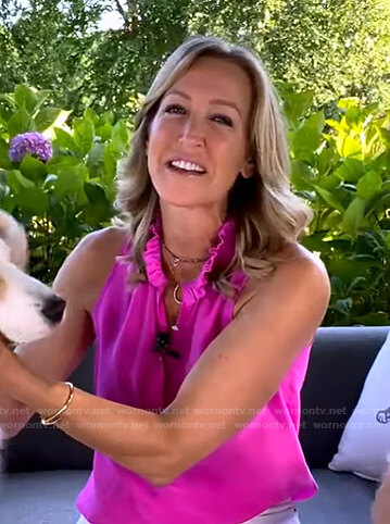 Lara's pink ruffle collar button down top on Good Morning America