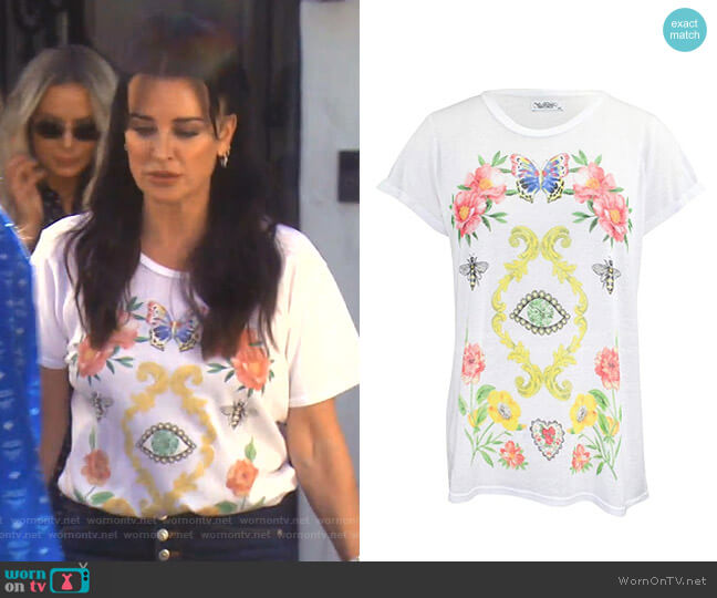 Magic Eye Floral Tee by Lauren Moshi  worn by Kyle Richards  on The Real Housewives of Beverly Hills