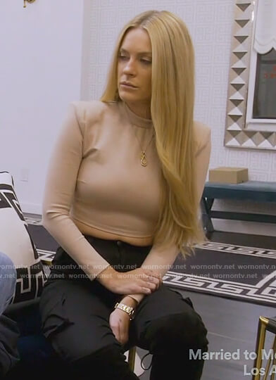 Leah's beige crop top on The Real Housewives of New York City