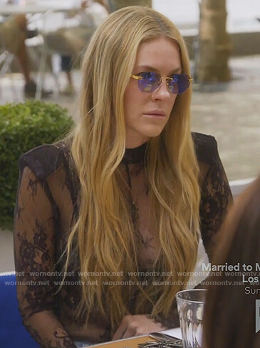 Leah's black lace bodysuit on The Real Housewives of New York City