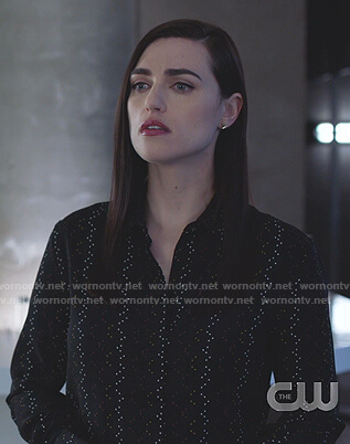 Lena's black print shirt on Supergirl