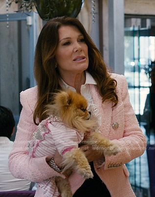 Lisa Vanderpump's pink tweed blazer on American Housewife