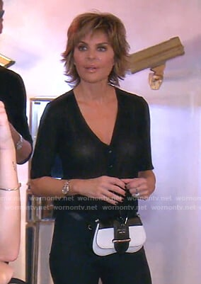 Lisa's Prada black and white belt bag on The Real Housewives of Beverly Hills