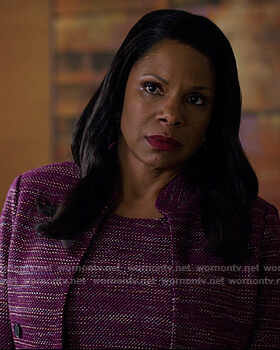 Liz's purple tweed dress and jacket on The Good Fight