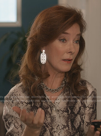 Lorna's silver drop earrings on Dead to Me