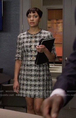 Lucca's black check tweed dress on The Good Fight