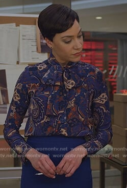Lucca's blue paisley print tie neck blouse on The Good Fight