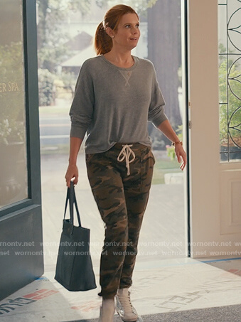 Maddie's gray sweatshirt and camo sweatpants on Sweet Magnolias