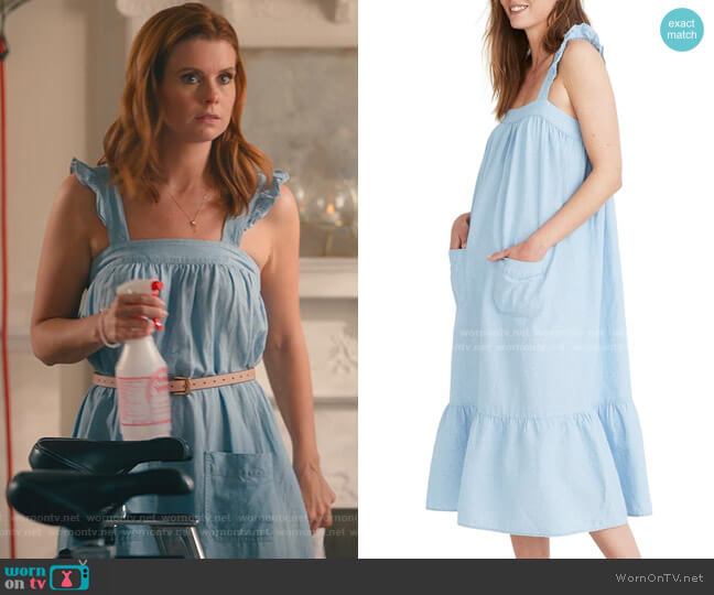 Ruffle Strap Tiered Chambray Maxi Dress by Madewell worn by Maddie Townsend (JoAnna Garcia Swisher) on Sweet Magnolias