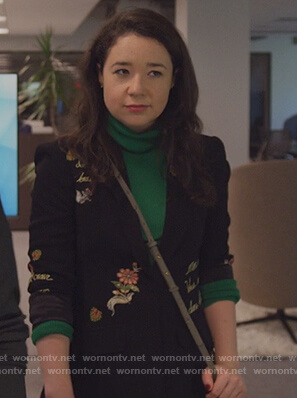 Marissa's black embroidered blazer on The Good Fight