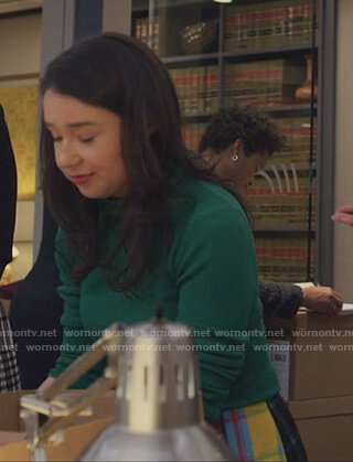 Marissa's multicolored plaid skirt and sweater on The Good Fight