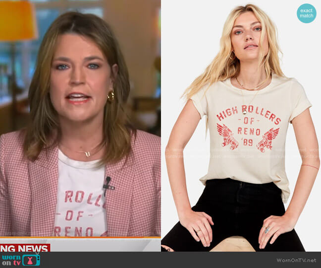 Classic Crew Graphic T-Shirt by Mate the Label worn by Savannah Guthrie  on Today
